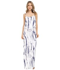 Culture Phit Monicah Maxi Dress White Navy Tie Dye Women's Dress