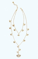 Lilly Pulitzer Coastal Shell Layered Y Necklace Gold Metallic