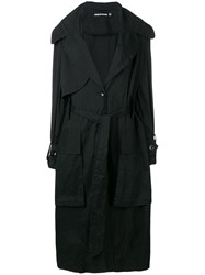 House Of Holland Oversized Ripstop Trench Coat Black