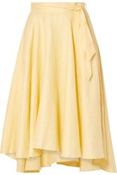 Miguelina Gale Linen Midi Skirt Pastel Yellow