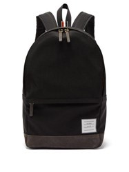 Thom Browne Unstructured Canvas And Suede Backpack Black