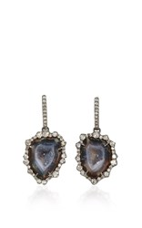 Kimberly Mcdonald Dark Geode And Irregular Diamond Drop Earrings Grey