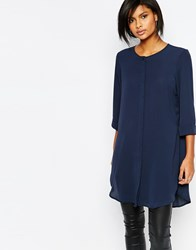 Vero Moda Side Split Tunic Top Navy