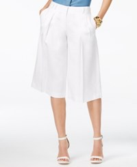 Michael Michael Kors Linen Pleated Gaucho Pants White