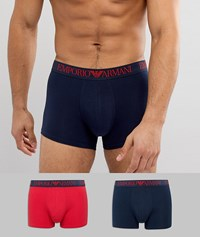 Emporio Armani 2 Pack Mid Length Trunk In Multi