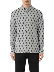 Allsaints Atlus Feather Print Slim Fit Shirt Grey