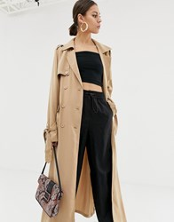 Na Kd Utility Lightweight Trench Coat In Beige