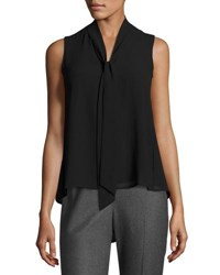 Marled By Reunited Clothing Sleeveless Tie Neck Blouse Black