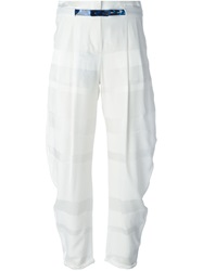Emporio Armani Striped Cropped Trousers White