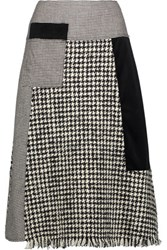 Raoul Fringed Paneled Wool Blend Tweed Velvet And Houndstooth Skirt Black