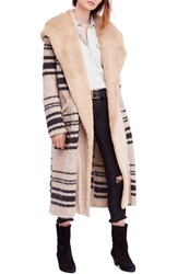 Free People Sweetest Thing Faux Fur Hooded Sweater Coat Ivory