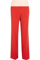 Bottega Veneta Two Tone Wool Gabardine Wide Leg Pants Red