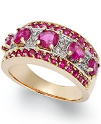 Macy's Ruby 2 5 8 Ct. T.W. And Diamond 1 6 Ct. T.W. Wide Band Ring In 14K Gold Red