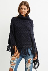 Forever 21 Cable Knit Turtleneck Poncho Navy
