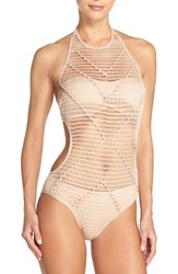 Kenneth Cole Women's New York Wrapped In Love One Piece Swimsuit Sand