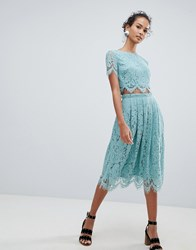 New Look Lace Co Ord Midi Skirt Green