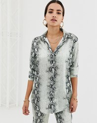 Missguided Satin Shirt Co Ord In Grey Snake Multi