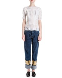 Loewe Half Sleeve Cotton Eyelet Blouse White