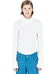 Telfar Long Roll Neck Sweater White