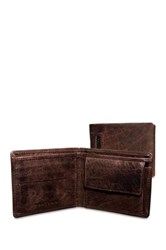 Jack Georges Genuine Full Grain Hand Stained Re Tanned Buffalo Leather Coin Pocket Wallet Brown