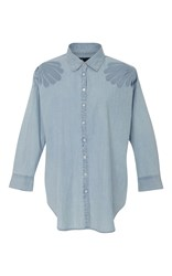 3X1 Freja Embellished Shoulder Chambray Shirt Grey