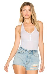 Only Hearts Club Feather Weight Rib Henley Racer Bodysuit White