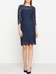Jigsaw 3 4 Sleeve Lace Dress Petrol