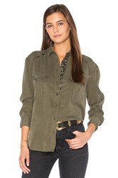 Free People Off Campus Button Down Top Army