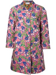 Red Valentino Floral Print Midi Coat Women Polyester 42 Pink Purple
