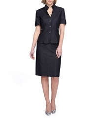 Tahari By Arthur S. Levine Petite Stand Collar Short Sleeve Jacket Skirt Suit Denim Blue