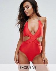 Wolf And Whistle Chain Detail Cross Front Swimsuit Venere Red Multi