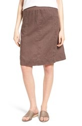 Eileen Fisher Women's Organic Linen Knee Length Skirt Cobblestone
