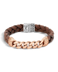 Classic Chain Men's Bracelet With Leather Strap John Hardy