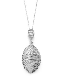 Macy's Diamond Shell Pendant Necklace In Sterling Silver 5 8 Ct. T.W.