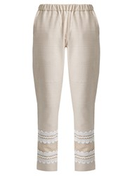 Dodo Bar Or Isasshar Lace Embellished Cotton Trousers White Multi