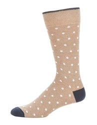 Black Brown Polka Dot Crew Socks Taupe