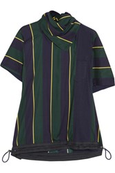 Sacai Striped Linen Blend T Shirt Navy