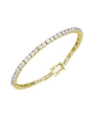Lord And Taylor Cubic Zirconia Sterling Silver Line Bracelet Gold