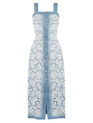 Huishan Zhang Giselle Cotton Blend Floral Lace Dress Blue White