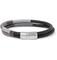 Tateossian Cobra Masai Leather And Sterling Silver Bracelet Black