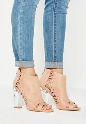 Missguided Pink Whipstitch Clear Heel Ankle Boots Blush