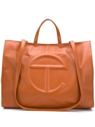 Telfar Logo Embossed Tote Bag Brown