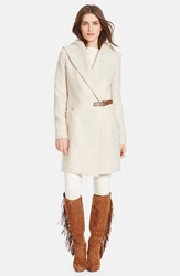 Lauren Ralph Lauren Hooded Tweed Wrap Front Coat Regular And Petite Fawn