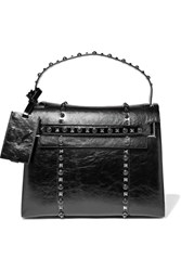 Valentino My Rockstud Glossed Textured Leather Tote Black