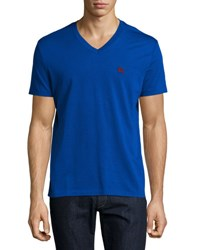 Burberry Lindon Cotton V Neck T Shirt Royal Blue