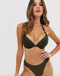 Dorina Super Push Up Bikini Top In Metallic Black