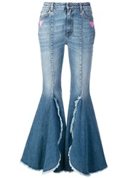Dolce And Gabbana Flared High Waisted Jeans Blue