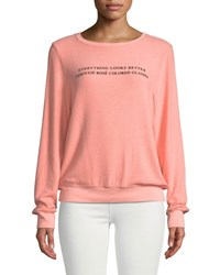 Wildfox Couture Rose Glasses Graphic Crewneck Sweatshirt Coral