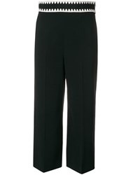 Red Valentino Embroidered Waistband Cropped Trousers Black