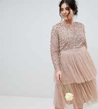 Maya Plus Long Sleeve Sequin Top Midi Dress With Tiered Tulle Skirt Taupe Blush Brown